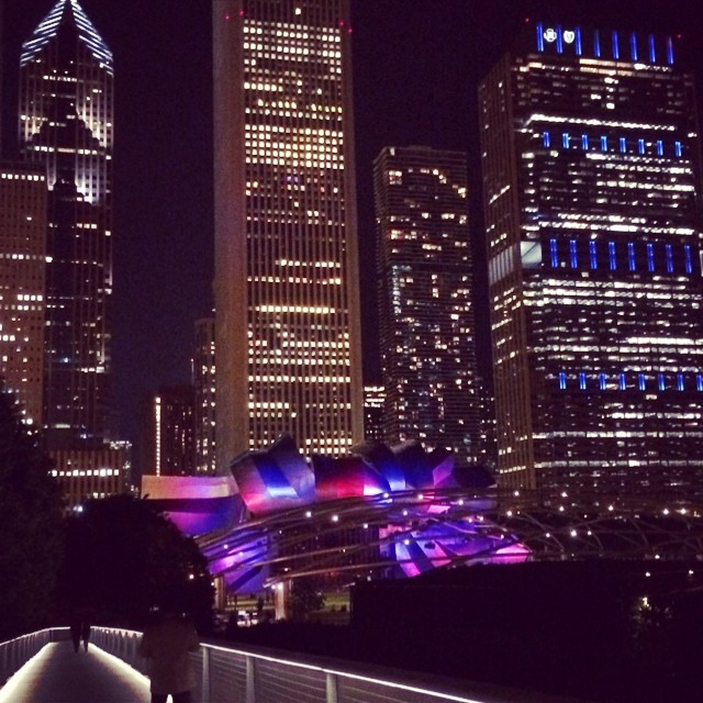 A peak of the Chicago skyline at night. Bejeweled!