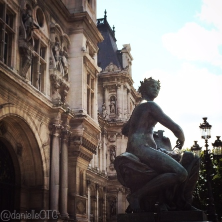 A close up of some of the lovely details of Hotel De Ville