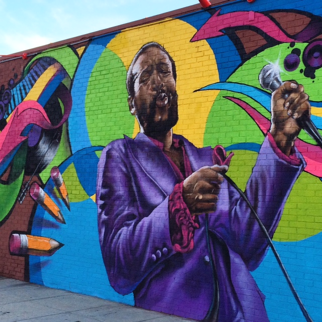 Artist Aniekan Udofia's mural of native son, Marvin Gaye. Udofia's work can be found throughout DC.
