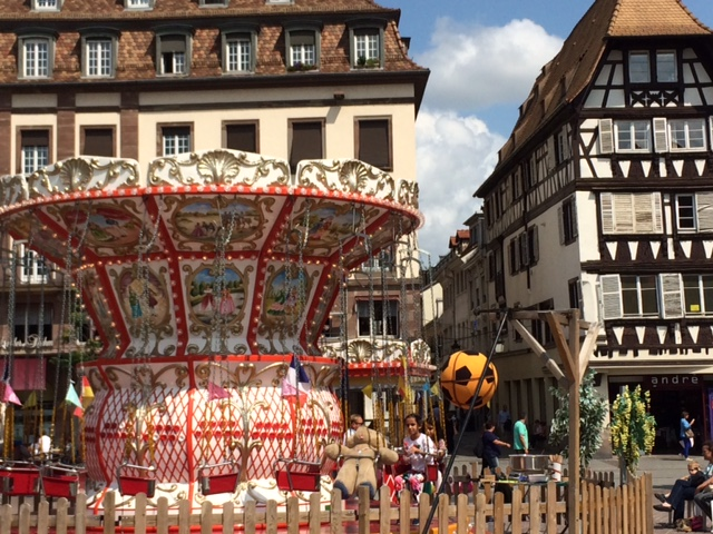 A lovely carousel in the town square.