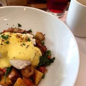 Cayman Hash & Eggs  with Jerk Hollandaise . Hello!? Jerk Hollandaise! Awesome.