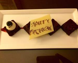 Sweet birthday wish from the Marriott manager. The little things...