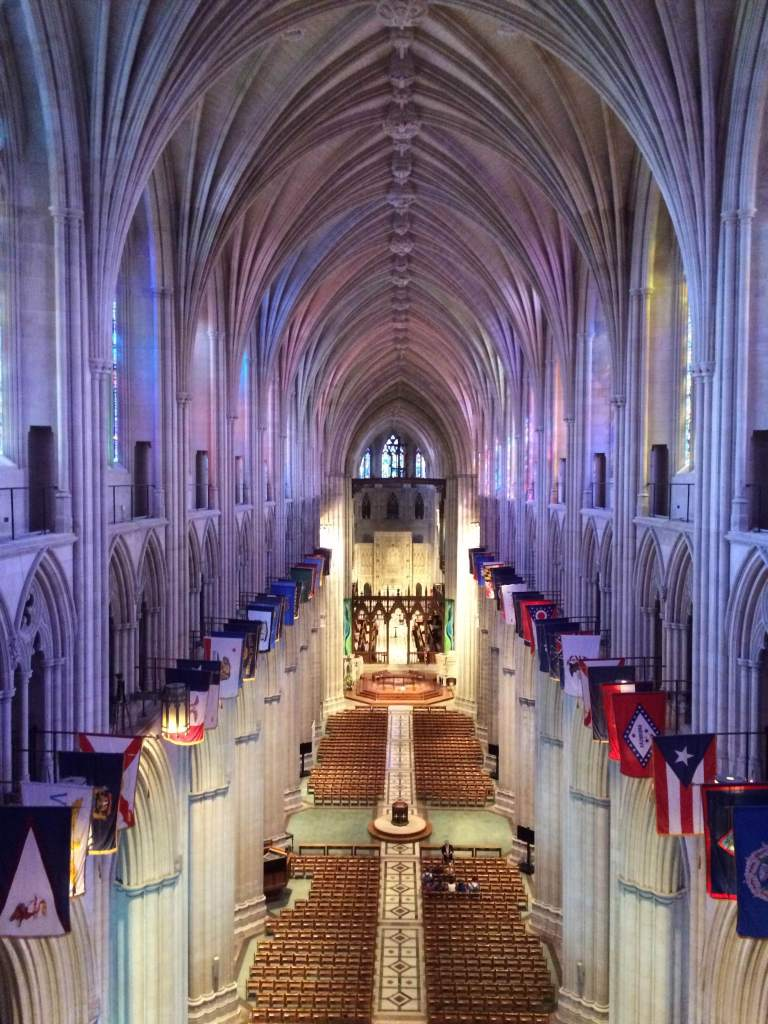 The Cathedral Nave and with state flags