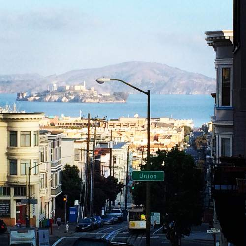 Street view -Alcatraz Island looming in the background.